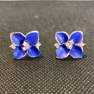 Jewelry - NWT Lotus Noble Blue & Rhinestone Earrings